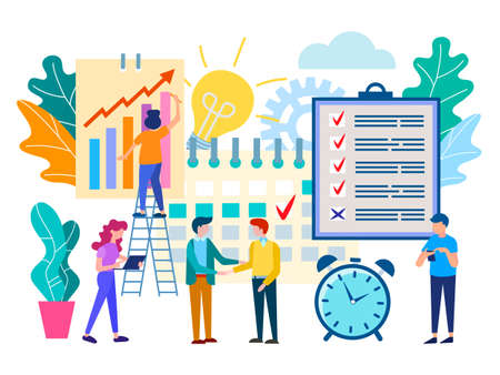 Scheduled meeting in the office, business partnership, solving work tasks, team work, making a deal. Vector illustration for social media, web design and presentations