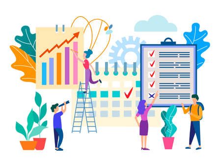 Office staff, teamwork, workflow planning and organization, business partnerships and discussion of business goals. Vector illustration for social media and web design.