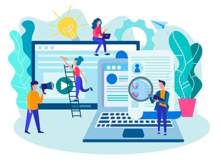 Reclutamiento, reclutamiento, equipo de la oficina de reclutamiento, perfiles de navegación, concepto de recursos humanos. Ilustración de vector de diseño web, redes sociales y presentación.