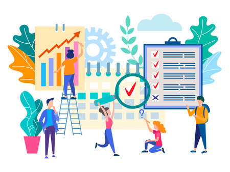 Time management, teamwork, office work. Marketers, managers analyze the data and organize the workflow. Vector illustration for social media, web design, posters and presentations.