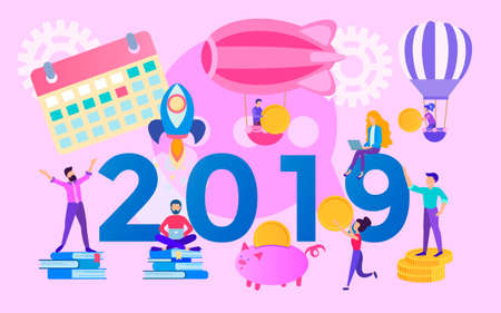 The concept of the year of opportunities 2019, office team, moving towards the goal, increasing profits and saving costs, teamwork, corporate concept. Vector illustration for web, posters and social media. 向量圖像