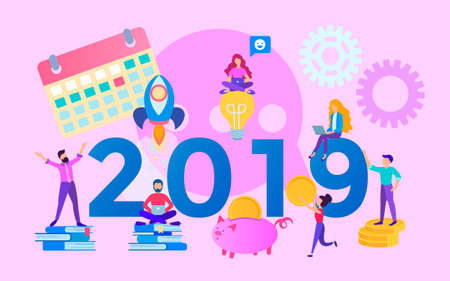 The concept of the year of opportunities 2019, office team,  increasing profits and saving costs, teamwork, corporate concept. Vector illustration for web, posters and social media.