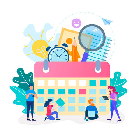 The time management concept, team work, office deadline. Ð¡alendar and symbols of office work as background. Vector illustration for banner, web sites and social media. 向量圖像