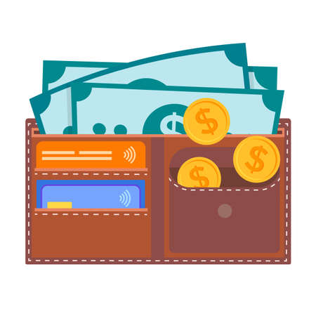 Leather wallet with credit cards, dollar bills, coins. The concept of safe preservation and accumulation of money. Vector illustration for social media, web design and presetation.