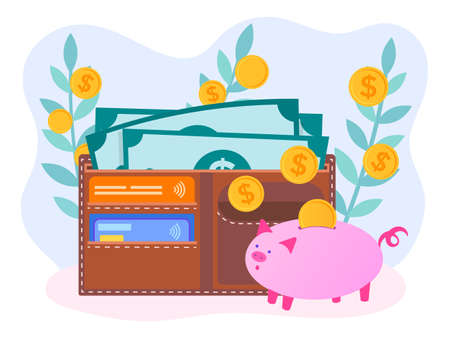 Sprouts with coins, wallet with banknotes and credit cards and piggy Bank symbolize the receipt, earnings, accumulation and preservation of money. The concept of smart management of savings. Vector illustration.