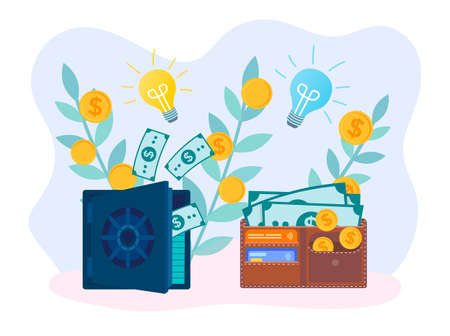 Shoots with coins symbolize the growth of income, safe and purse with coins, banknotes and credit cards symbolize savings. The concept of the idea of the correct disposal of finances and income. Vector illustration.