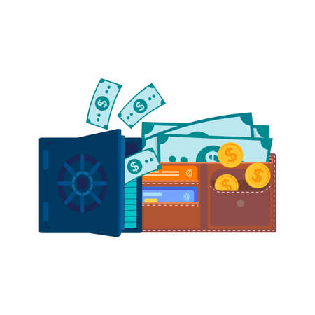 Coins, banknotes and credit cards in a wallet and a half-open safe with paper dollar bills. The concept of saving money, receiving wages and savings. Vector illustration for web design, social media and presentations. 向量圖像