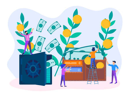 Characters of employees helping to save and accumulate money. Safe with dollars, wallet with banknotes, coins and credit cards. Vector illustration. Illustration
