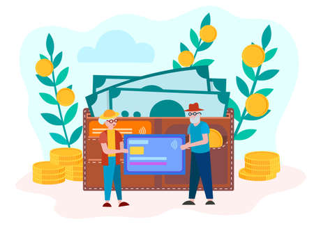Pension savings Bank retirement account, the concept of accumulation of money, help old people in the savings. Wallet with credit cards, banknotes and coins. Vector illustration. 向量圖像