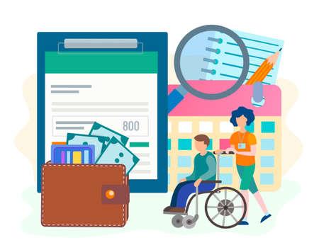 Kreditbewilligung für Menschen mit Behinderung. Das Konzept der Sozialhilfe für Behinderte. Günstige Bedingungen der Sozialversicherung. Vektor-Illustration.