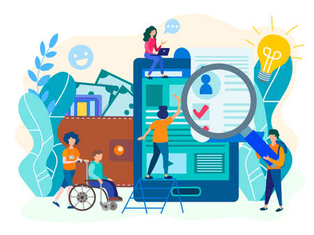 Hiring people with disabilities, filling out a resume. Assistance in filling out documents, organization of work and training for people with disabilities. Vector illustration.