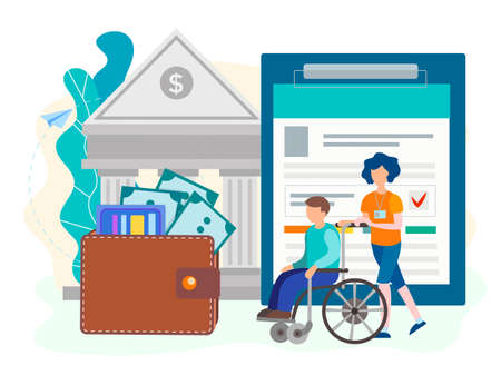 Disabled person and money saving concept. Profitable credit conditions and social support for people with disabilities. Vector illustration. Illustration