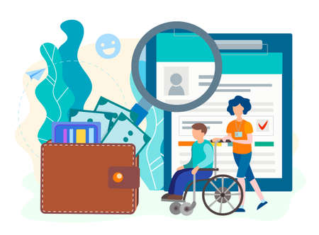 Social Security Disability Claim Form filling and obtaining Concept. Employee volunteer assistant with wheelchair user and accessories of the benefits. Vector illustration.