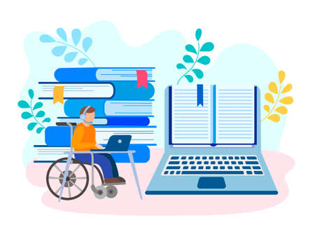 Education and job online for physical handicapped artificial disability person concept. Vector illustration. 向量圖像