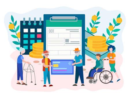 Compilazione modulo prestazioni previdenziali per pensionati e disabili. Concetto di reclamo di disabilità di sicurezza sociale. Illustrazione vettoriale.