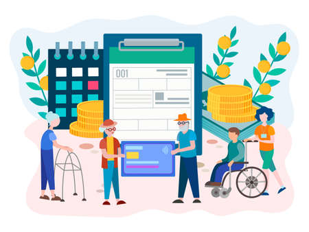 Social Security Benefits Form filling for pensioners and disabled person. Social Security Disability Claim Concept. Vector illustration. Reklamní fotografie - 127093004