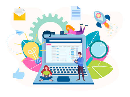 The concept of working online in a team with the help of modern technologies, generating ideas. Vector illustration for social media marketing, banners, posters.