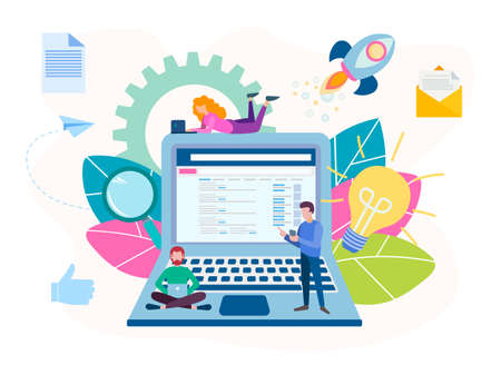 The concept of work with the help of modern technologies, generating ideas, working online in a team. Vector illustration for social media marketing, banners, posters 向量圖像