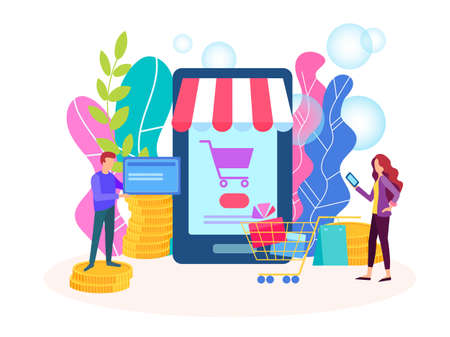 Concept of purchase in the online store, online shopping concept. Internet shop, online credit card payment, payment method. 向量圖像