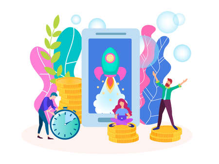 Startup concept, the beginning of mobile Internet business, young people in a short time to organize a successful business, the development of Internet business.