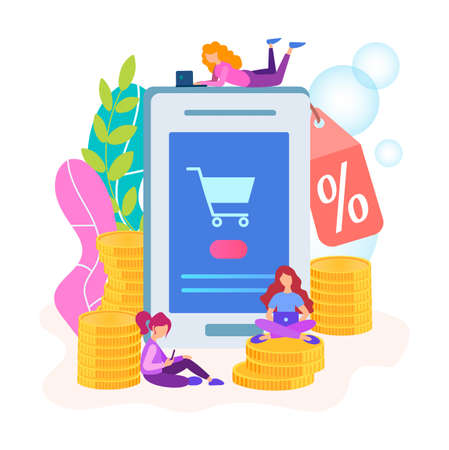 The concept of discounts in the online store, the mobile application of the online store offers discounts on goods, buyers get the notification of the sale.