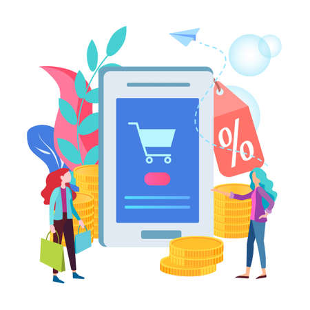 The concept of discounts in the online store, the mobile application of the online store offers discounts on goods, buyers respond to the notification of the sale.