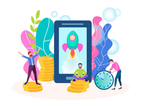 The concept of the beginning of the mobile Internet business, successful start-up, testing new apps, improving mobile technology.