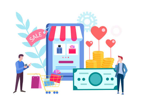 Men choose a gift in the online store online for Valentines day for lovers. Vector illustration for social media marketing, posters and presentations 向量圖像