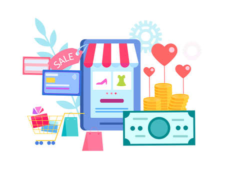 Shopping online on a mobile phone in the online store, sale for Valentines day, payment by credit card on the Internet