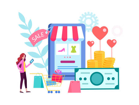 The woman chooses gifts in the online store, shopping online, shopping on Valentines day, sale for the holiday. Vector illustration for social media marketing, presentations, posters 向量圖像