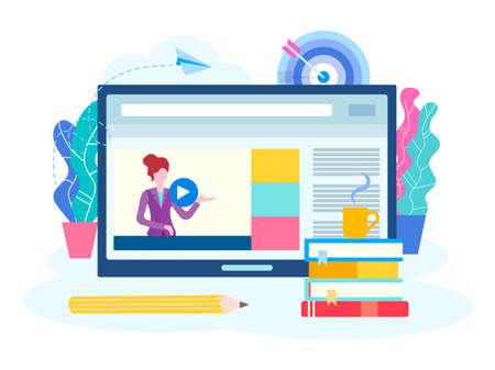 Lekcja online, webinarium, seminarium, kursy w Internecie. Młoda nauczycielka prowadzi lekcję online. Ilustracja wektorowa dla marketingu w mediach społecznościowych.