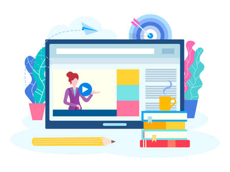 Online lesson, webinar, seminar, courses on the Internet. A young teacher conducts a lesson online. Vector illustration for social media marketing.