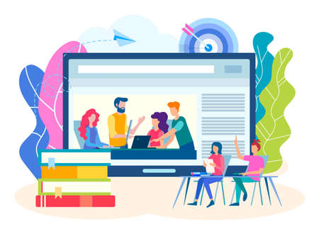 Online webinar, Colloquium, team work concept. Online training, group lessons, seminars, workshops. Vector illustration for social media marketing.