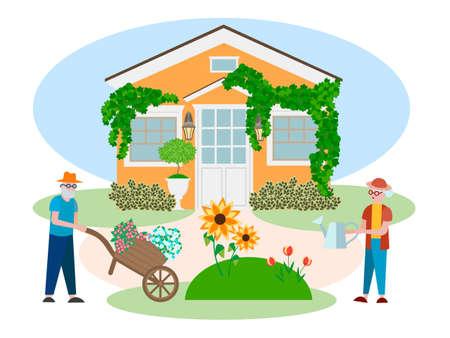 Los jubilados plantan flores en un macizo de flores cerca de su casa. El concepto de vejez segura, longevidad y bienestar.