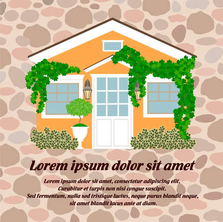 The house is covered with ivy, safe and cozy accommodation. The concept of sale and lease of real estate. Vector illustration for social media marketing, posters, presentations.