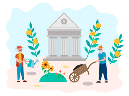 The concept of accumulation of pension savings, well-being in old age, the Banks assistance to pensioners. Vector illustration for social media marketing, posters and presentations