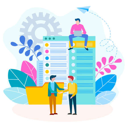 Agreement, handshake, contract between businessmen concept. Document flow and financial transactions. Vector illustration for social media marketing. 向量圖像