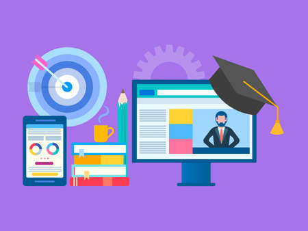 Online seminar, webinar, workshop concept. Web education, online training, Professor teaches on the Internet. Studying foreign languages. Vector illustration for social media marketing and blogging. Çizim