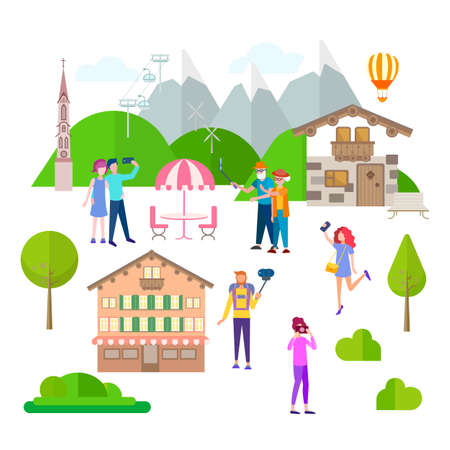 Tourists are photographed against the background of Austrian nature, rest in the mountains, spending time in a mountain village Illustration