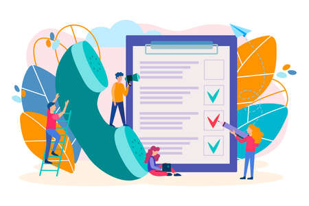 Filling out the questionnaire, information on the phone, support online concept. The employees of the call center carrying out the survey, fill the questionnaire, carry out testing. Иллюстрация