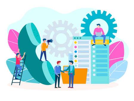 Teamwork-Handset-Vektor-Leute. Händedruck von Geschäftsleuten. Callcenter-Support, Kundenservice. Vektorgrafik