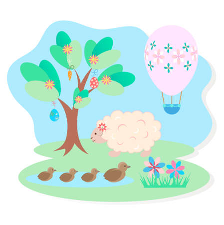 Easter picture, a sheep in a meadow, a lake with ducklings, Easter egg in the form of a balloon, a symbol of the coming Easter.