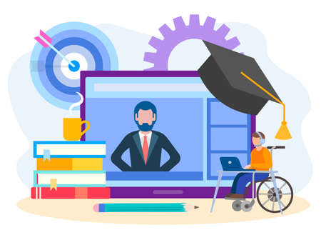 Convenient online training for people with disabilities, the concept of education on the Internet. Vector illustration for posters, social media, banners.
