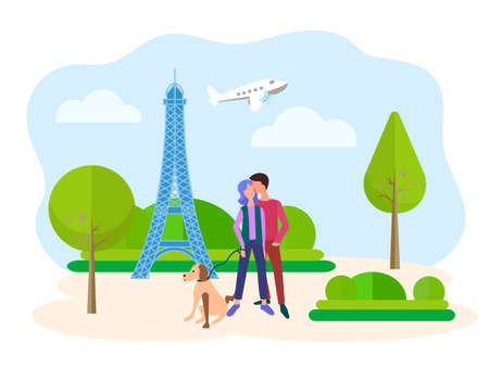 Young people hugging against the backdrop of the Eiffel tower in Paris, lovers walking their dog in Paris Park, honeymoon and happy couple concept