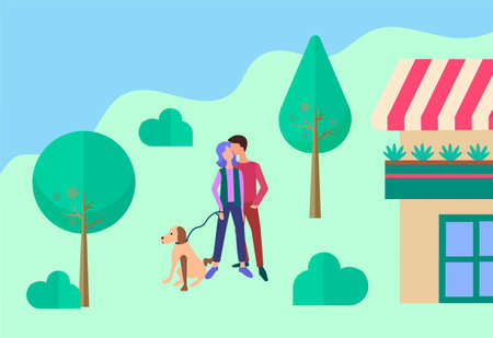 Young people walking their dog and hugging near the house. Lovers and their future in a cozy house concept.