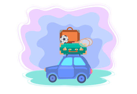 Car with suitcases, soccer ball and badminton rackets on the roof. Vector illustration