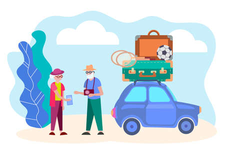 Pensioners are going to travel by car, suitcases, soccer ball and badminton rackets on the roof of the car an Elderly man with a camera and his wife with tourist brochures in hand