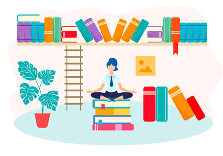 Vector illustration of the concept of self-control and peace of mind in the learning process. The girl in the Lotus position on a stack of books among the books and biblical shelves.