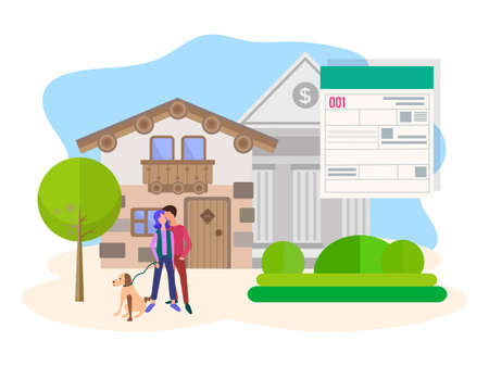 Vector modern illustration, concept of saving and investing money, obtaining a loan for real estate. Young couple on the background of the form approval of the loan, the Bank and your own home.