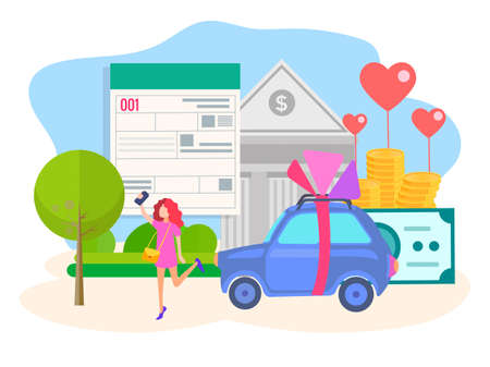 Vector illustration of concept approval obtaining consumer credit. The girl takes a selfie against the background of the form of the loan, the Bank building, the car and the money she get. Stock Vector - 124781241